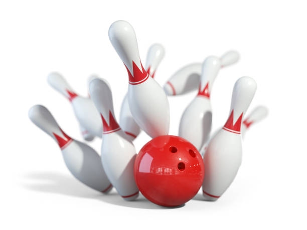 Red ball smashes the bowling pins stock photo