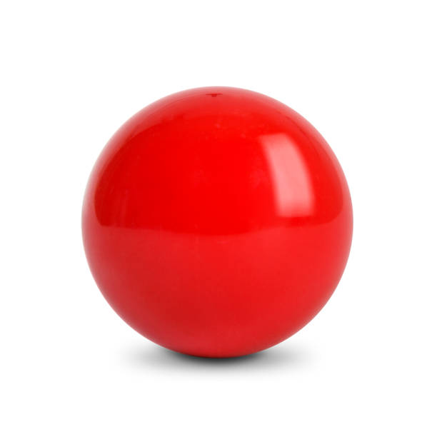 red ball, snooker ball on white background - ball stock photos and pictures