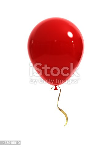 Red balloon with a gold ribbon on a white background. 3d render.