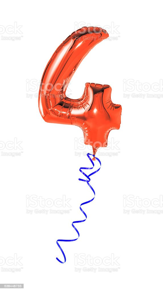 Red balloon with ribbon - Number 4 stock photo