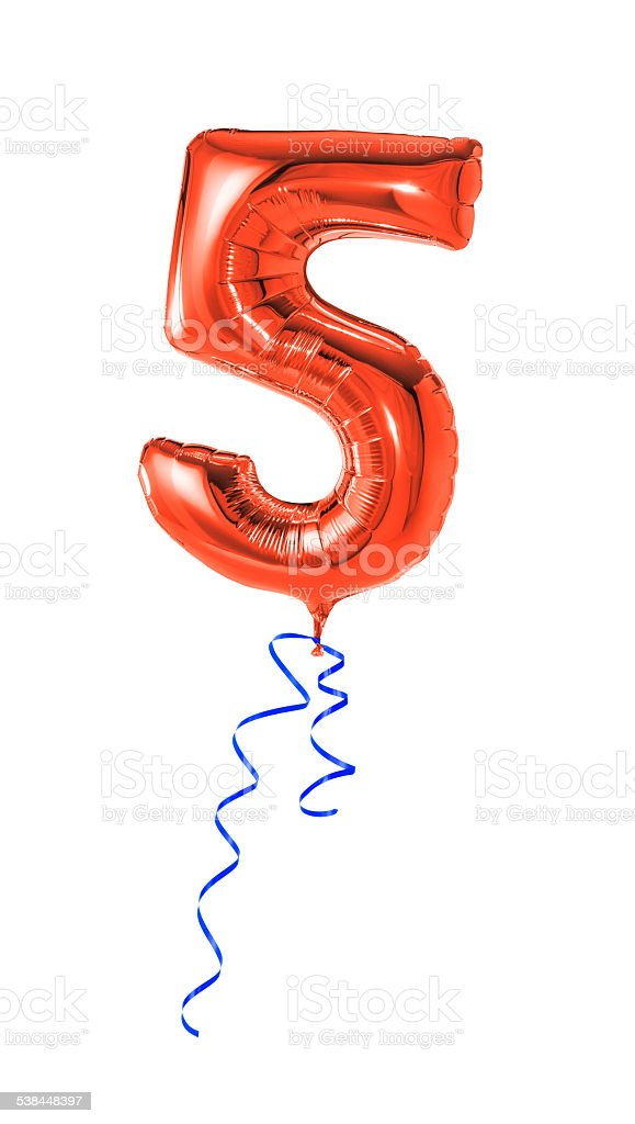 Red balloon with ribbon - Number 5 stock photo