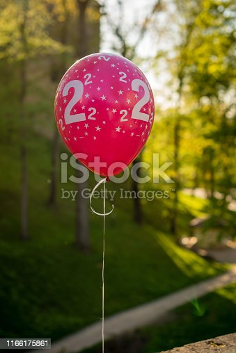 1035635902 istock photo Red balloon with stars and a number 2. 1166175861