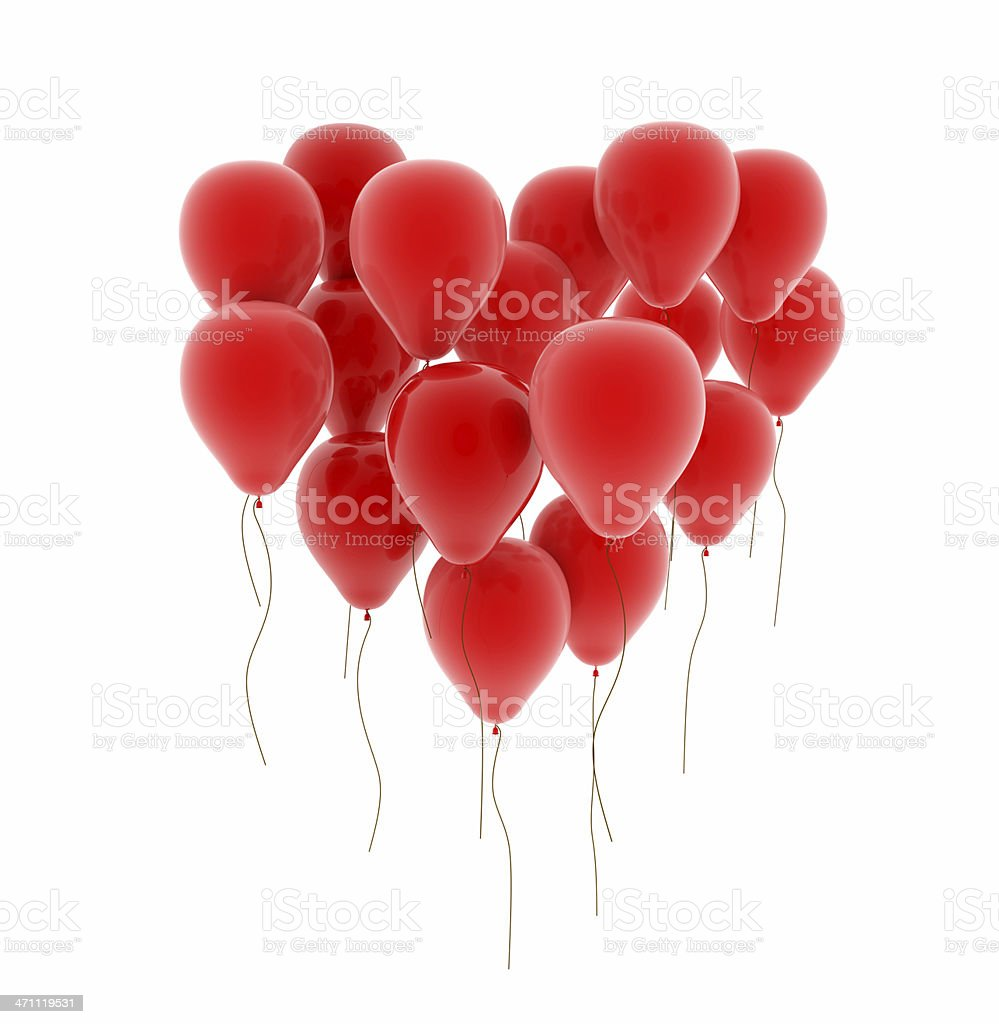 Red balloons forming the shape of heart on white background stock photo