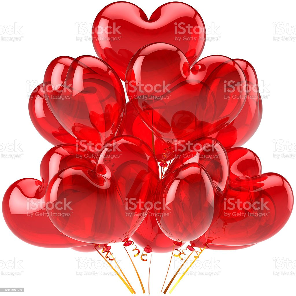 Red balloons party decoration in form of hearts royalty-free stock photo