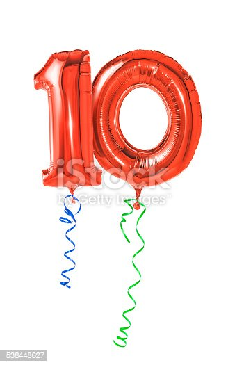 istock Red balloons with ribbon - Number 10 538448627