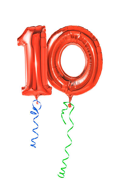 ballons rouges avec ruban-numéro 10 - anniversaire 10 ans photos et images de collection