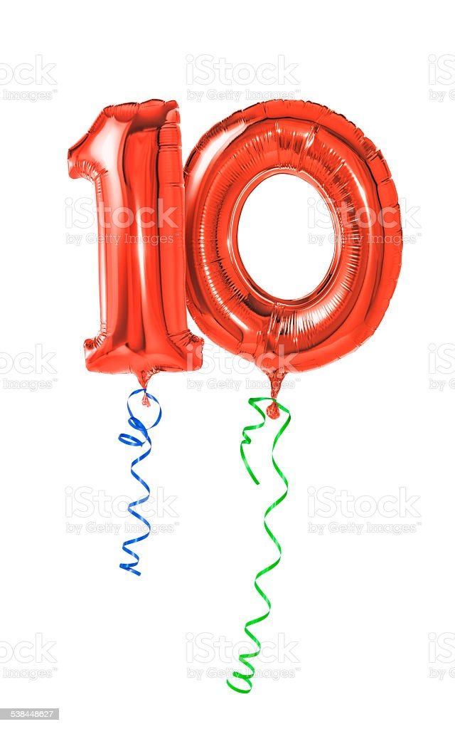Red balloons with ribbon - Number 10 stock photo