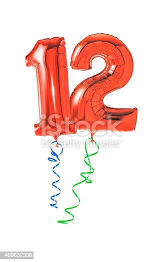 istock Red balloons with ribbon - Number 12 469632306