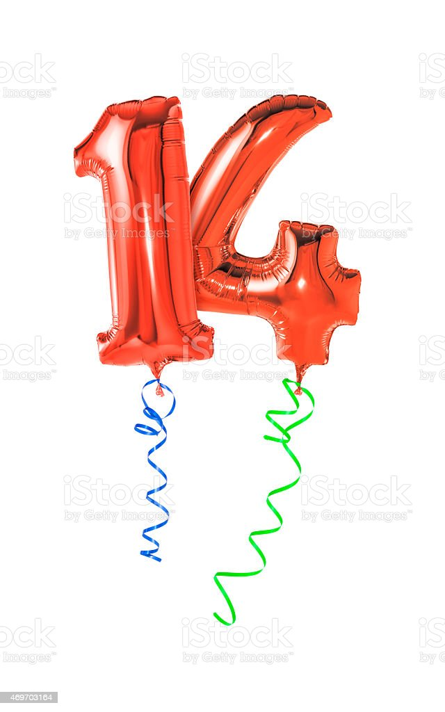 Red balloons with ribbon - Number 14 stock photo