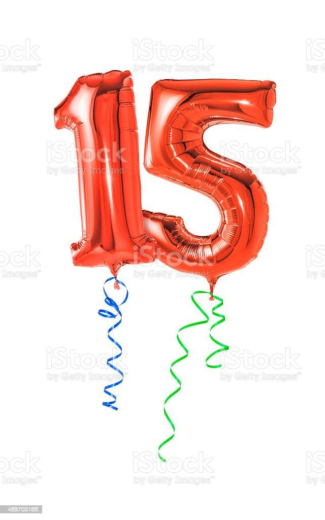 Rote Luftballons mit Band-Zahl 15 – Foto