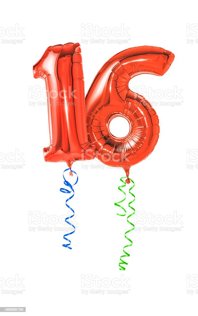 Red balloons with ribbon - Number 16 stock photo