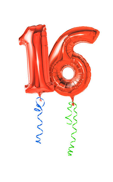red balloons with ribbon - number 16 - number 16 stock photos and pictures