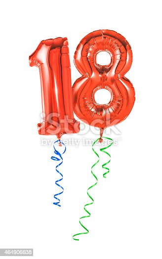 istock Red balloons with ribbon - Number 18 464906638