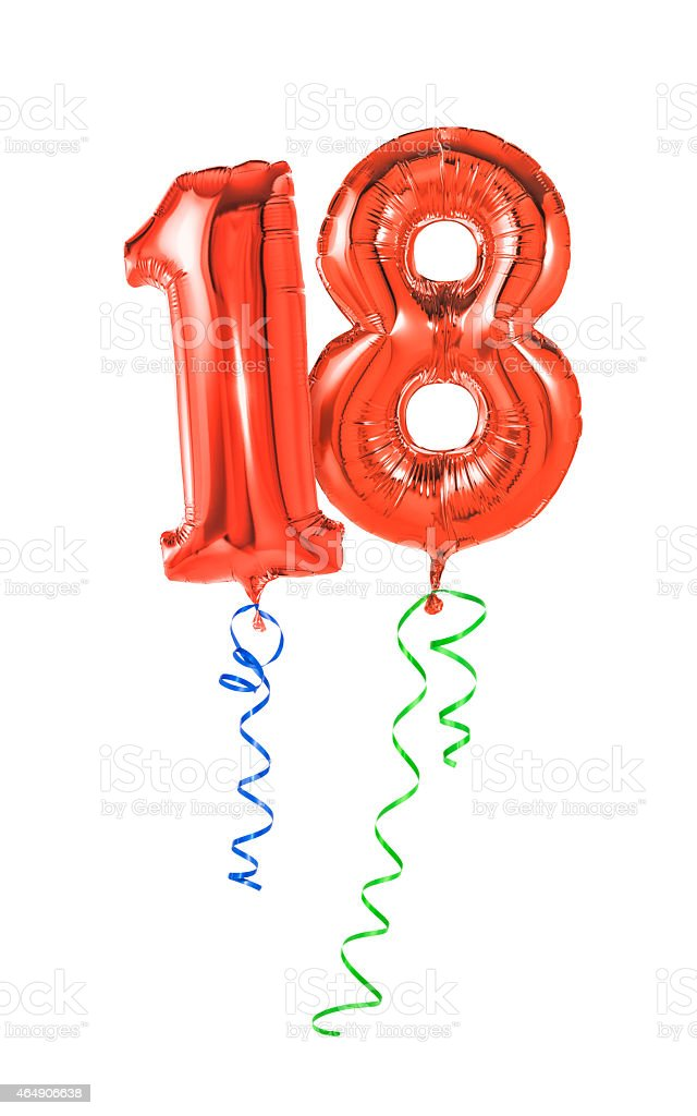Red balloons with ribbon - Number 18 stock photo