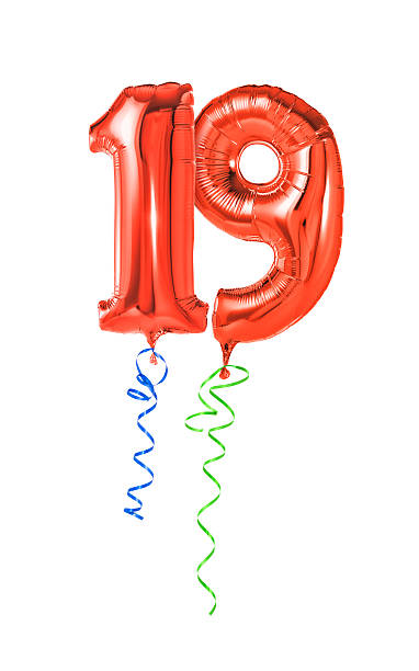 red balloons with ribbon - number 19 - number 19 stock photos and pictures