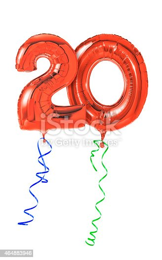 istock Red balloons with ribbon - Number 20 464883946