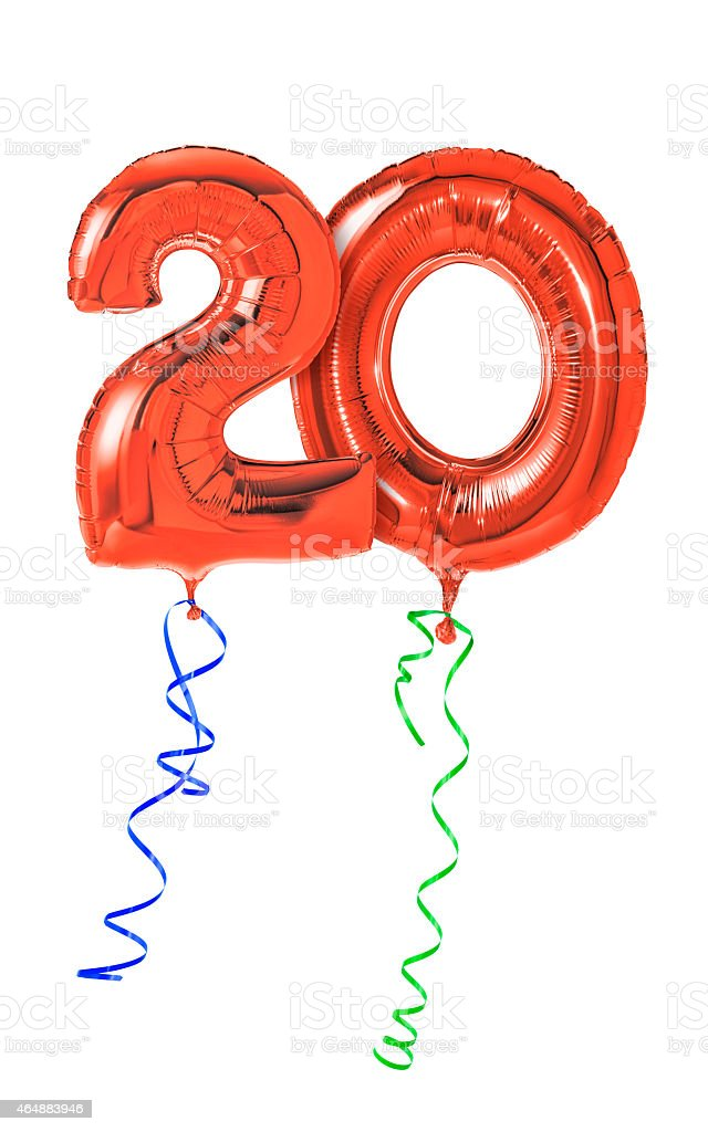 Red balloons with ribbon - Number 20 stock photo