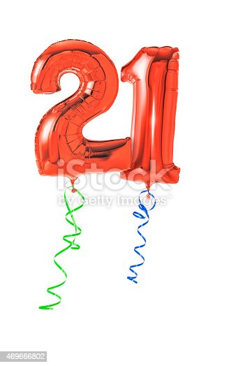 istock Red balloons with ribbon - Number 21 469666802
