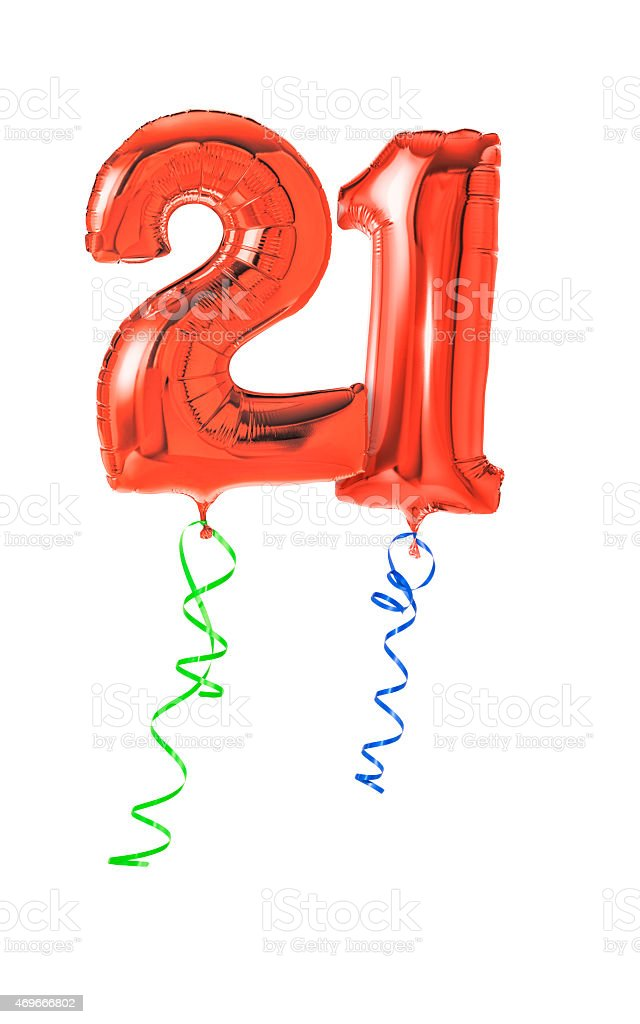 Red balloons with ribbon - Number 21 stock photo