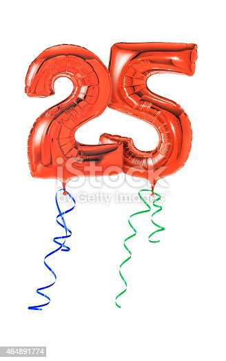 istock Red balloons with ribbon - Number 25 464891774