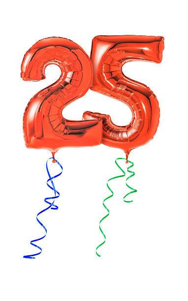 balões com fita vermelha número 25 - 25 30 anos - fotografias e filmes do acervo