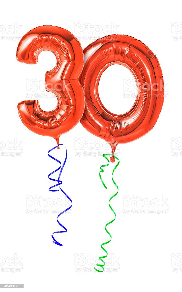 Red balloons with ribbon - Number 30 stock photo
