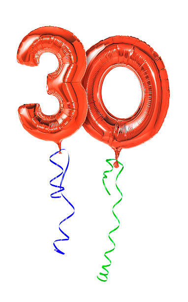 Red balloons with ribbon - Number 30 Red balloons with ribbon - Number 30 30 34 years stock pictures, royalty-free photos & images