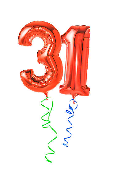 Red balloons with ribbon - Number 31 stock photo
