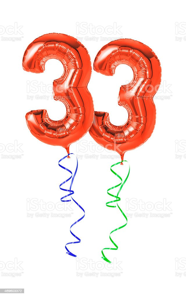 Red balloons with ribbon - Number 33 stock photo