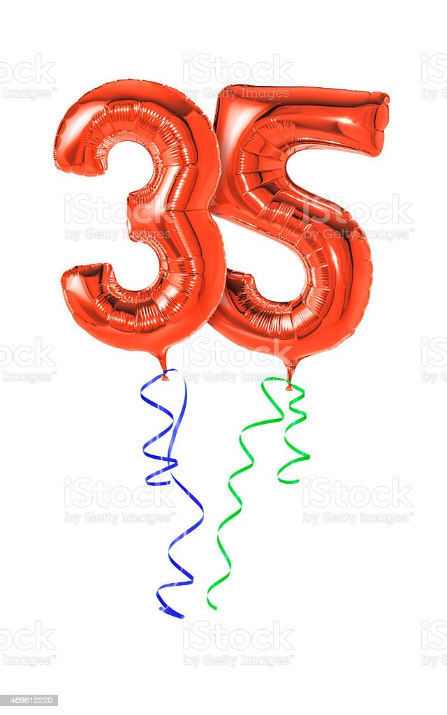 Red balloons with ribbon - Number 35 stock photo