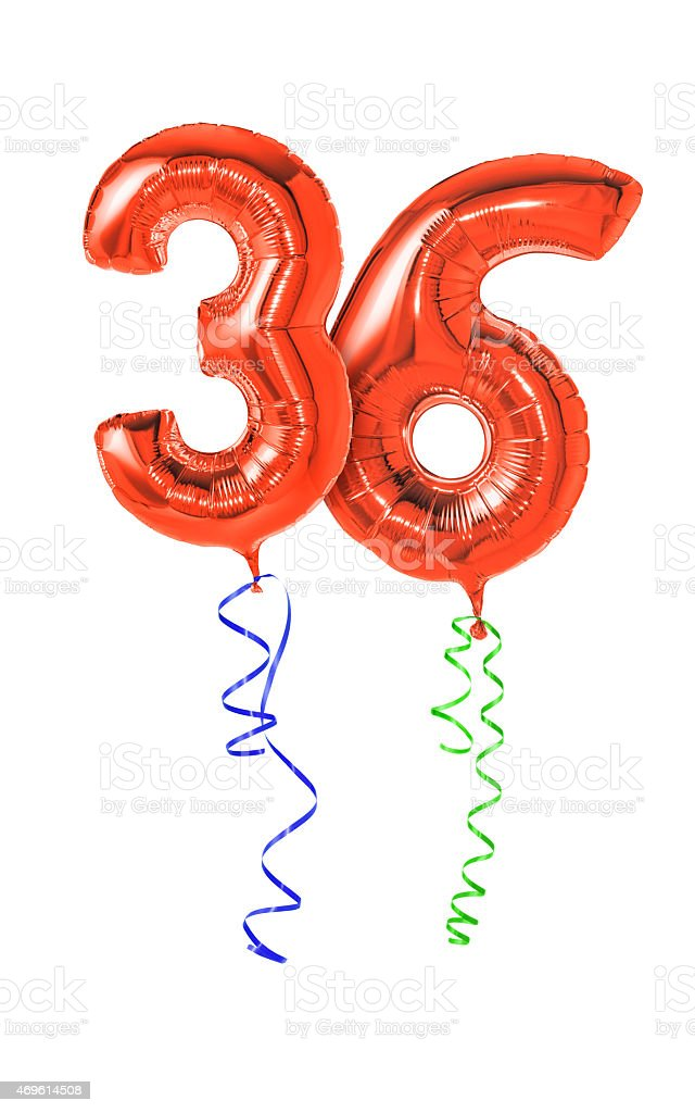 Red Balloons With Ribbon Number 36 Stock Photo