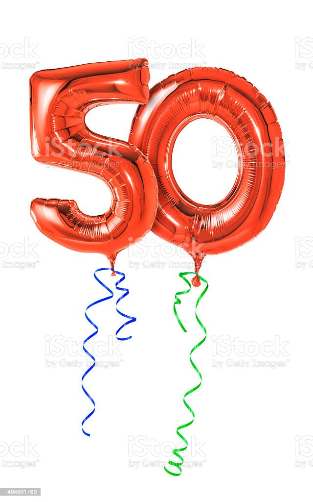 Red balloons with ribbon - Number 50 stock photo
