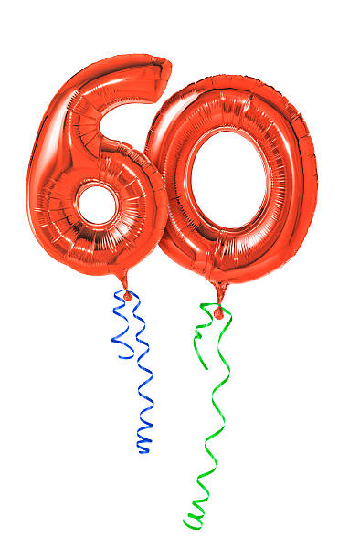Red balloons with ribbon - Number 60 Red balloons with ribbon - Number 60 60 64 years stock pictures, royalty-free photos & images