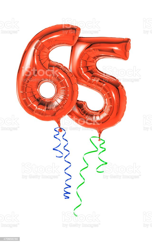 Red balloons with ribbon - Number 65 stock photo