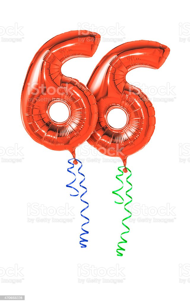 Red balloons with ribbon - Number 66 stock photo
