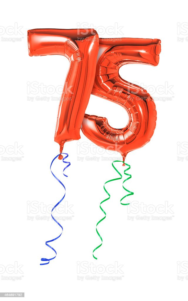 Red balloons with ribbon - Number 75 stock photo