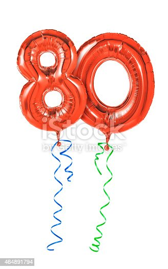 istock Red balloons with ribbon - Number 80 464891794