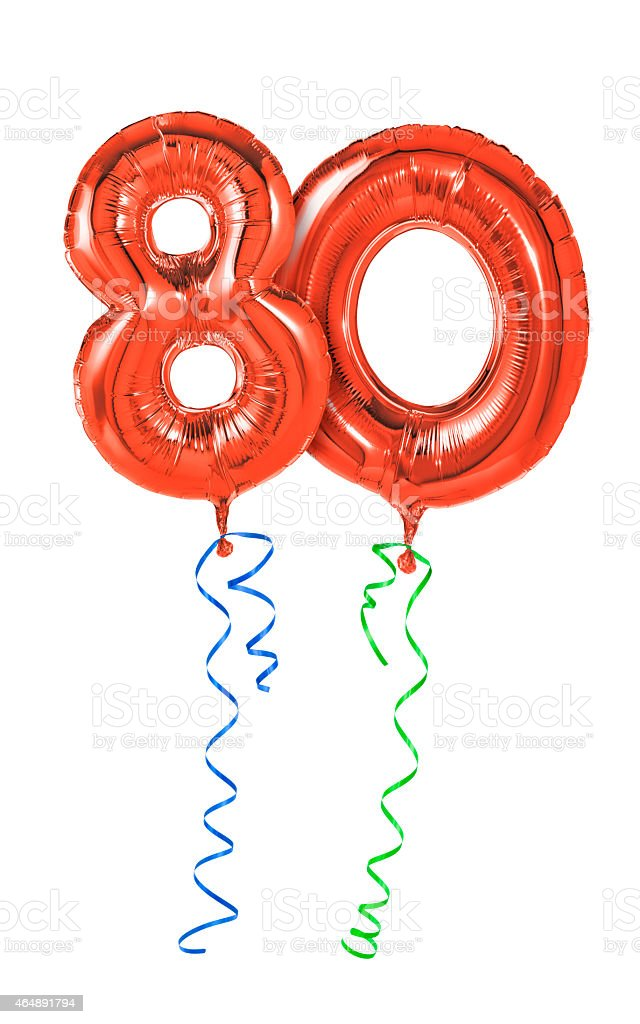 Red balloons with ribbon - Number 80 stock photo