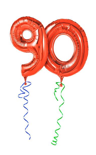 rote luftballons mit band-number 90 - wie lange leben fliegen stock-fotos und bilder
