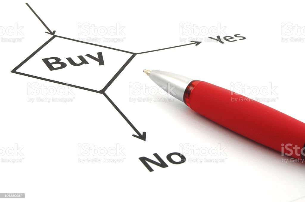 Red ballpoint pen on a flowchart to buy royalty-free stock photo