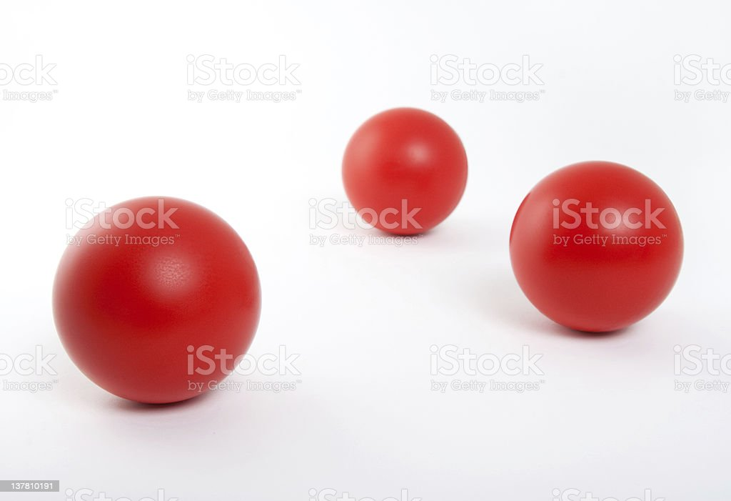 Red balls on white background stock photo
