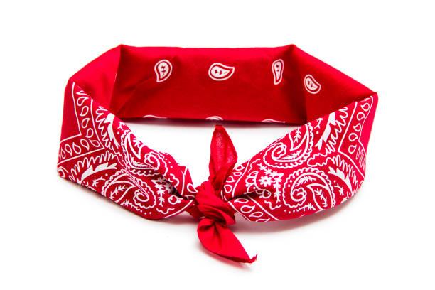 red bandana isolated on white - lenço do pescoço imagens e fotografias de stock