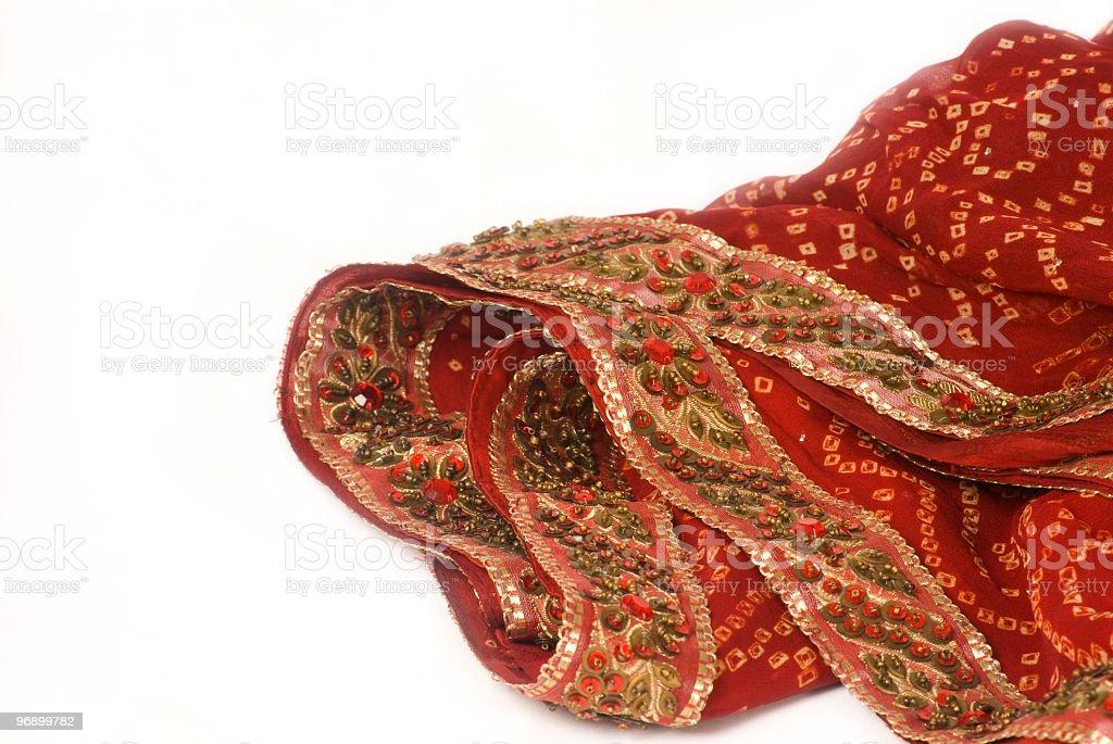 red bandhej saree - sari with beads work border royalty-free stock photo