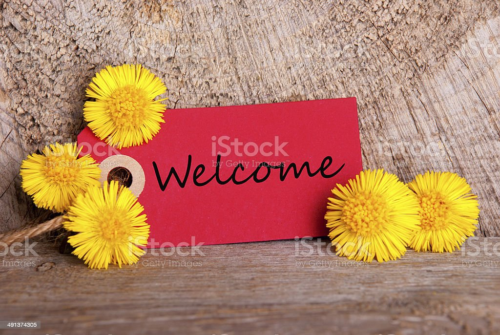 Red Banner with Welcome stock photo