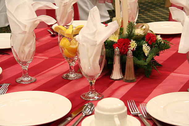 Red Banquet Formal Place Settings stock photo