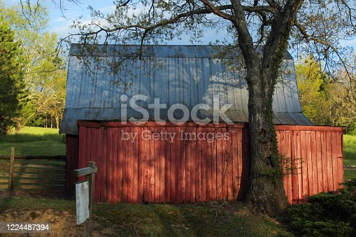 Red barn and evening shadows