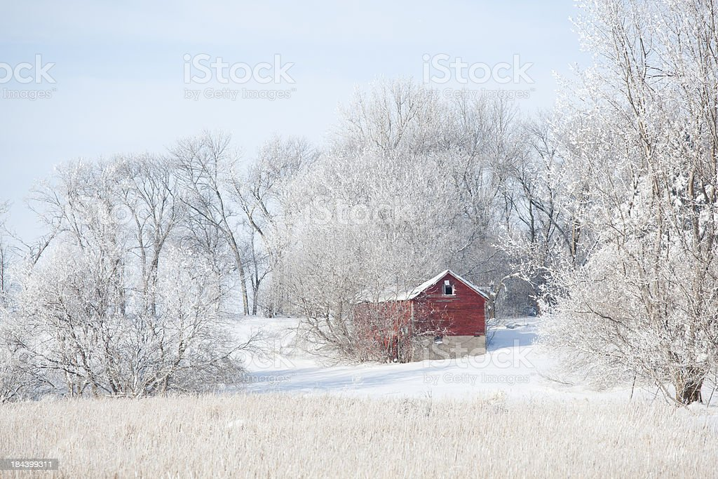 Red Barn and Farm Field in Snowy Winter royalty-free stock photo