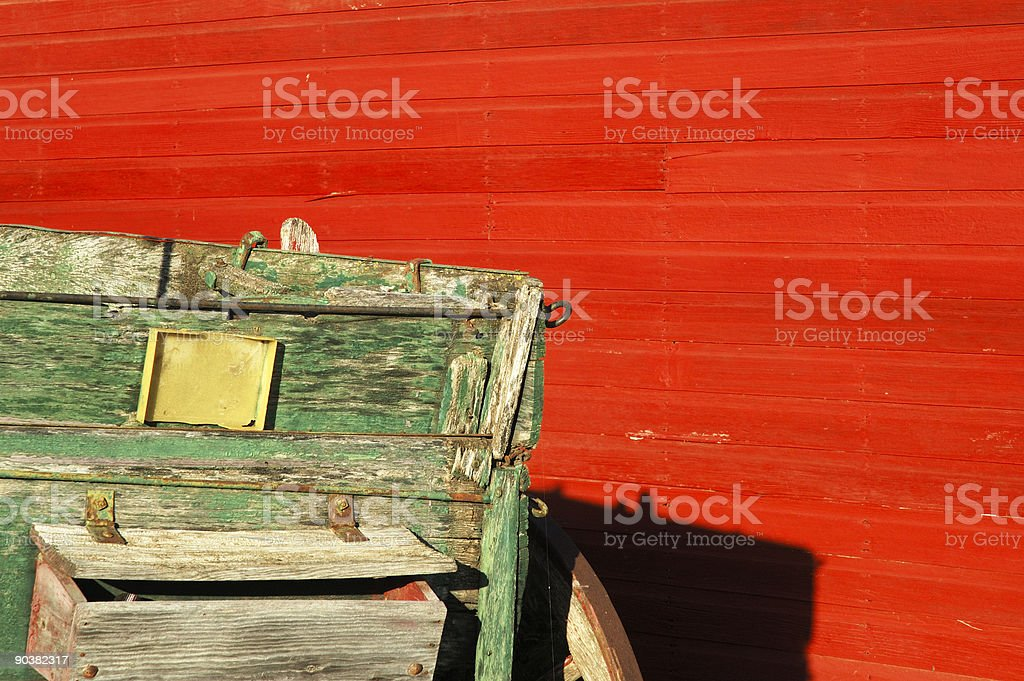 Red Barn and Green Wagon 2 stock photo