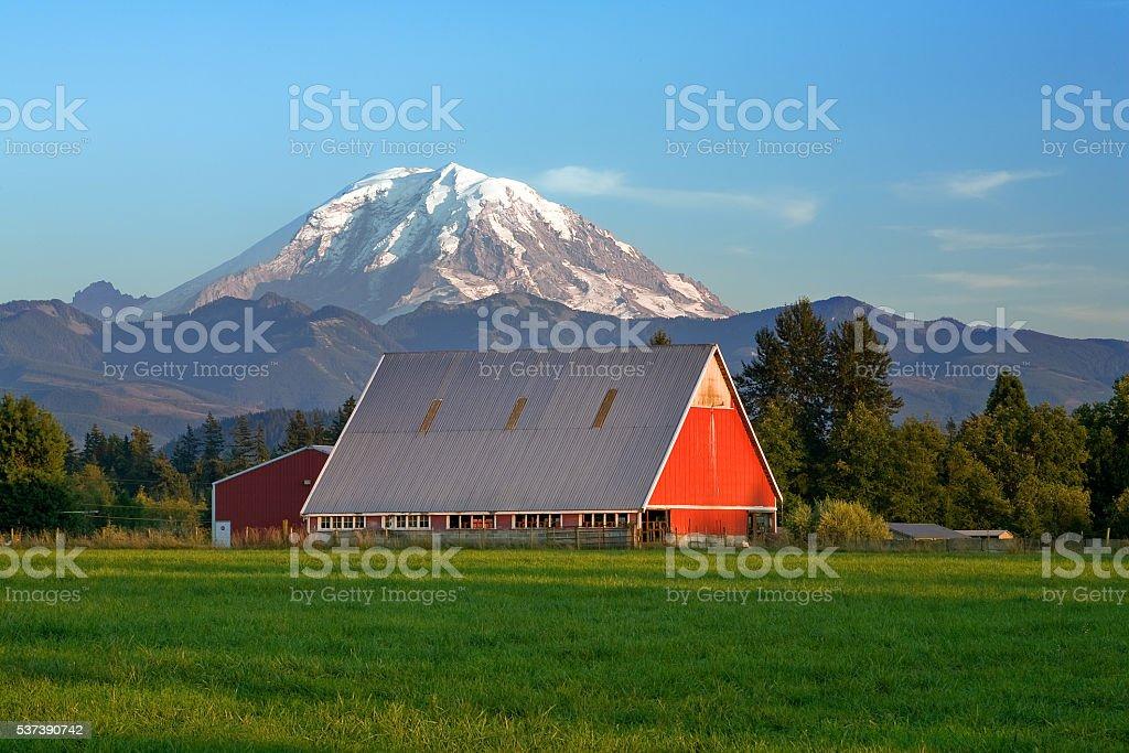 Red barn and Mt Rainier stock photo