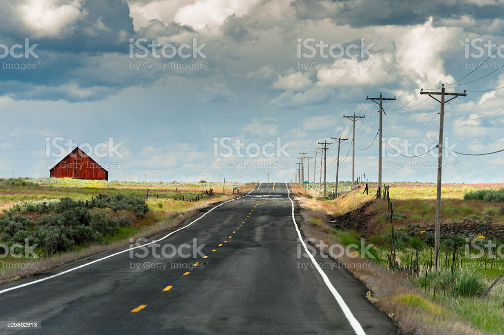 Red Barn and Road stock photo